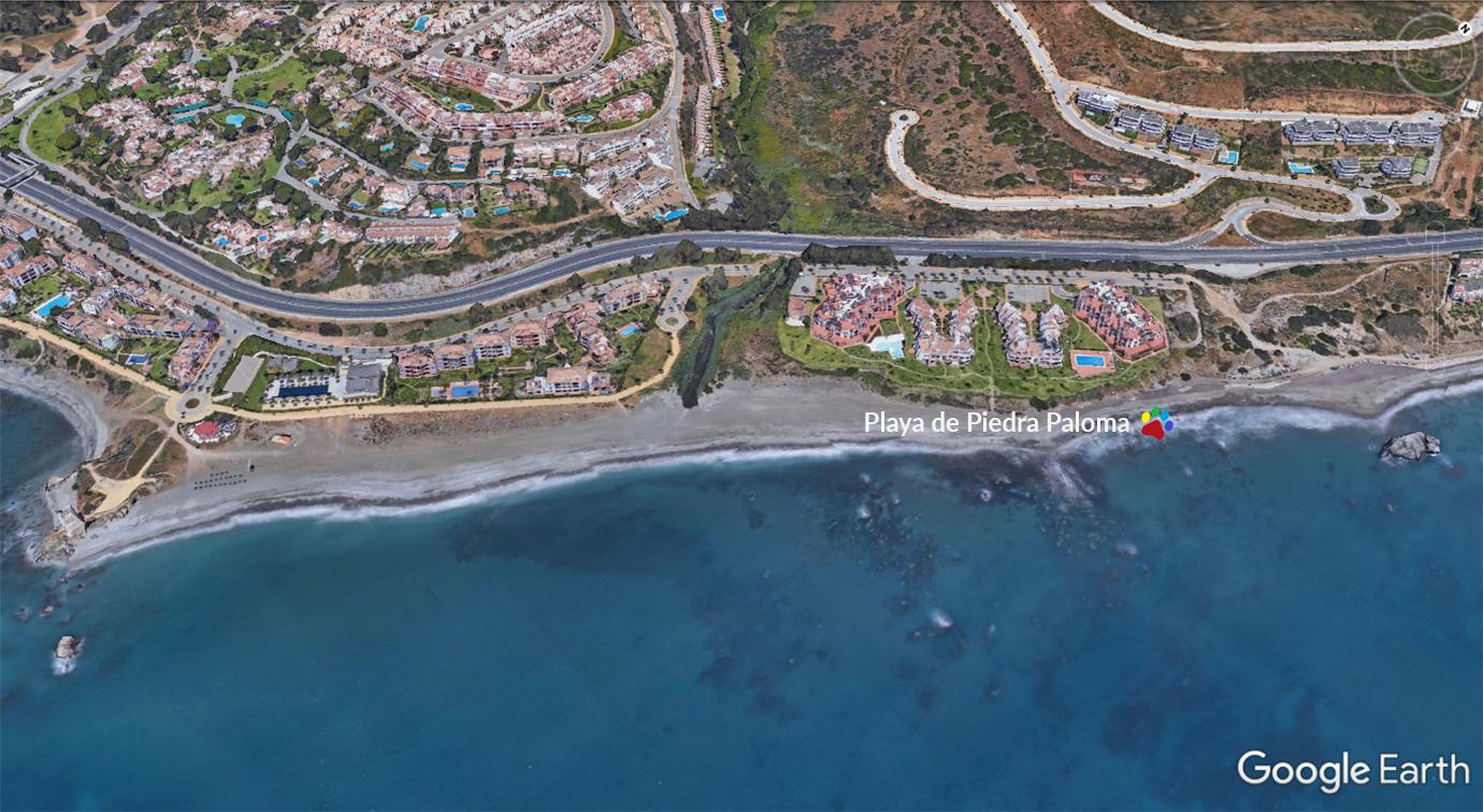 Vista aérea de la playa de Piedra Paloma