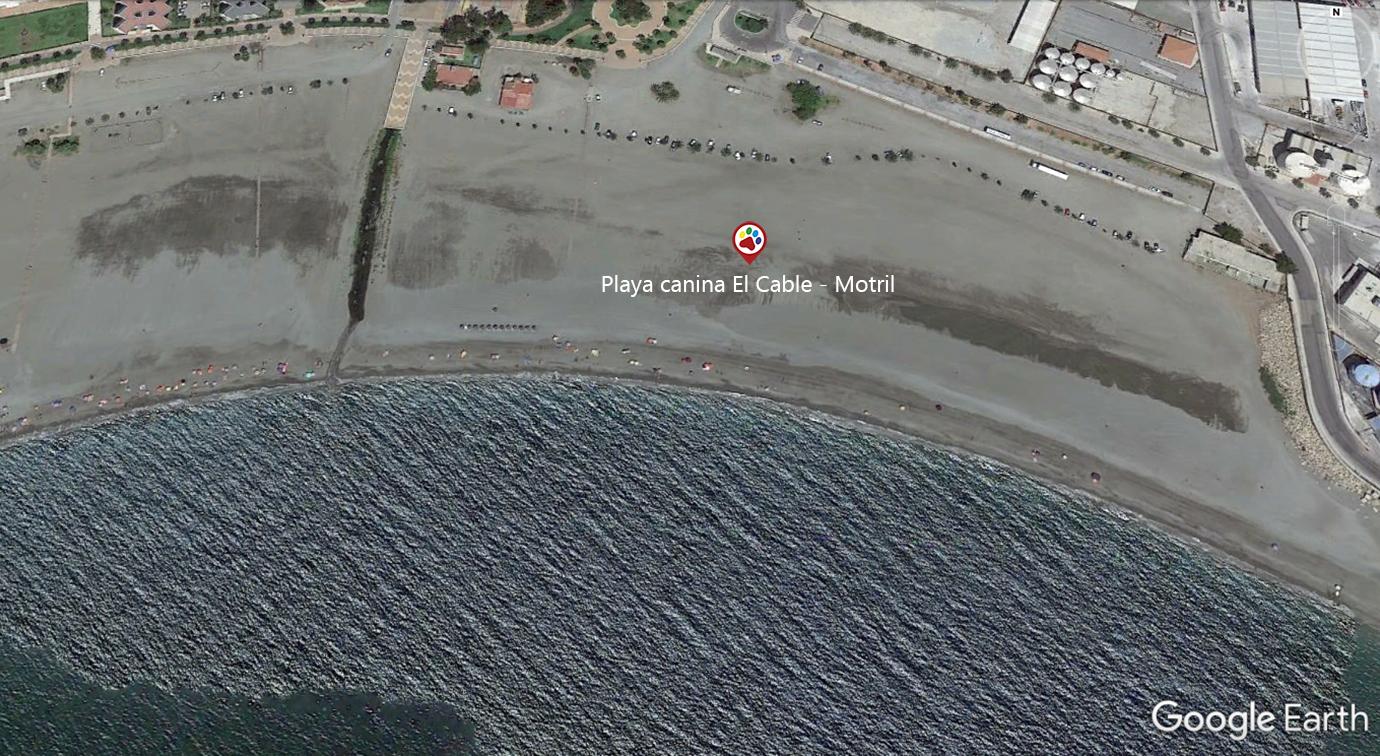 Vista aérea de la playa El Cable en Motril